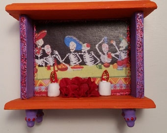 Celebrate / Bright Colorful and Festive Day of the Dead  / Dia de los Muertos  Mini Alter Shrine Nicho