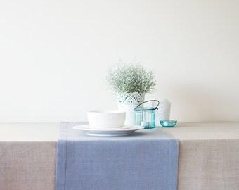 Blue TABLE RUNNER Linen Runner With Borders Weddings Runner Bridal Shower Decor Baby Shower Decor Pastel Blue Runner