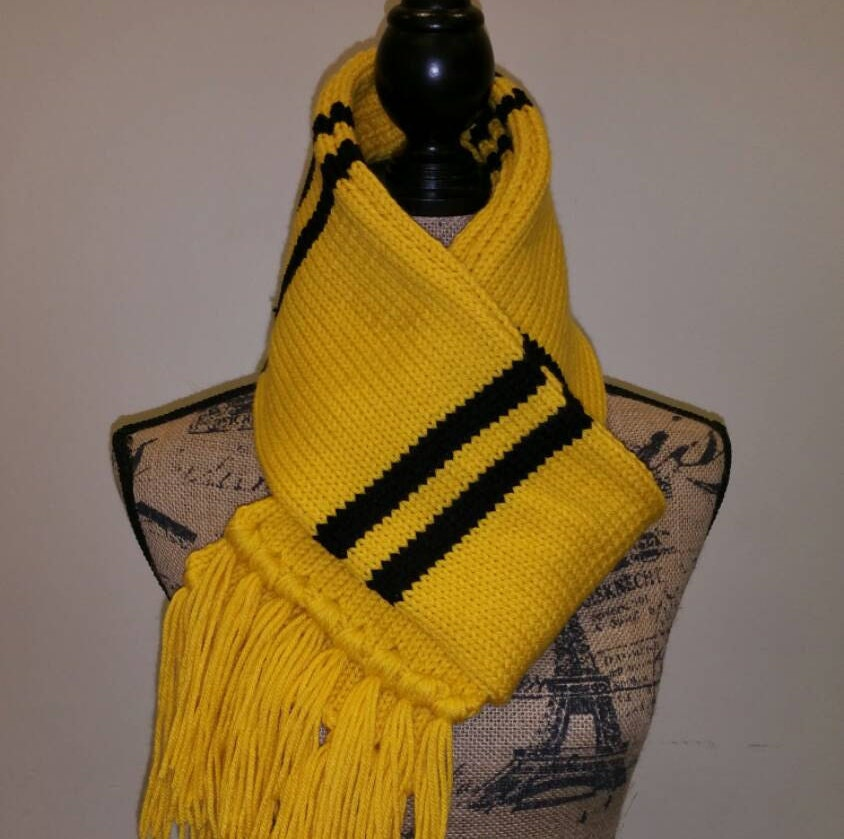 Hufflepuff Scarf Knitting Pattern : Harry Potter inspired upperclass Hufflepuff scarf by ...