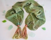 Pink and Green Ombre Tassel Scarf,  Handwoven Scarf, Hand Dyed Rayon Silk Warp, Jade Green Scarf, Girlfriend Gift, Valentines Day