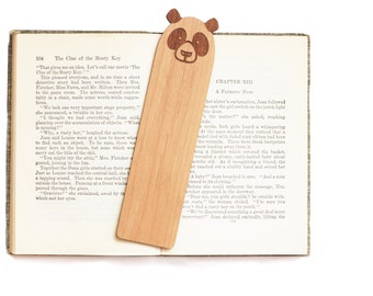 Wood Bookmark // Laser Cut Alder Wood // Panda Design