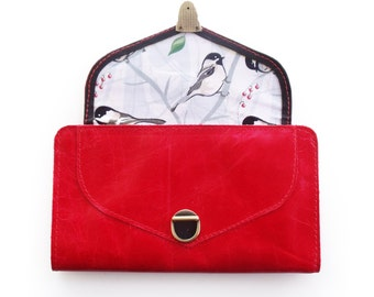 Free shipping, Red women's leather wallet, Valentine's gift for her, Cherry red purse