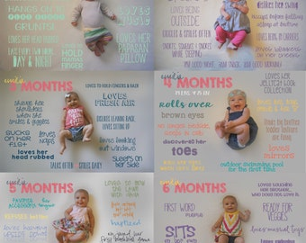 Monthly Baby Milestone Designs *great gift idea for new moms to show off their new little! - DESIGN FILES ONLY