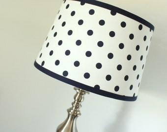 Large Floor Lamp Shade. Navy & white polka dot.
