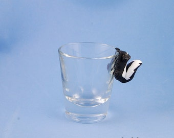 Hand Sculpted Striped Skunk 1.5 oz Shotglass