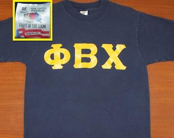 Phi Beta Chi sorority vintage t-shirt navy blue M 90s college university PBX