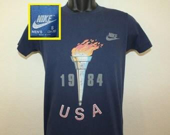 Nike blue tag USA Olympics 1984 vintage t-shirt navy blue XS/S 80s soft thin