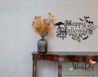 Happy Halloween wall sticker - Halloween decor with ravens and bats wrought iron design
