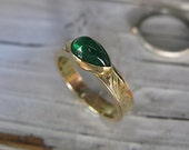 Natural Emerald Ring Gold Size 6.75 Unique Engagement Ring Wedding Band Gold Wedding Ring Emerald Cabochon Ring Gemstone Engagement Ring