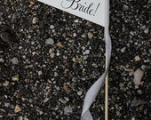 Silver & Black Here Comes The Bride Wedding Sign {In Stock} Small Pennant Flag Poplar Wooden Dowel Heavy Paper Glitter Silver Classic Script