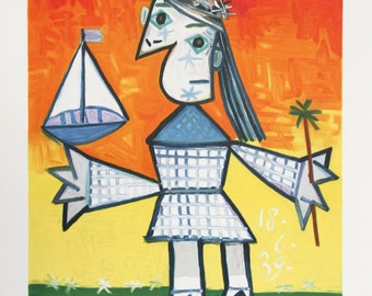Fillette Couronee au Bateau by Pablo Picasso, Picasso Estate Collection Lithograph, 1982