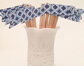 Blue and White Spanish Tile Print Drink Stirrers - Cocktail Stirrers - 40 ct
