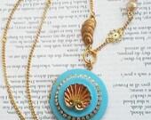 Underwater Ocean Vintage Carnival Glass Sea Shell Matte Blue Locket Gold Tone Jewelry Necklace