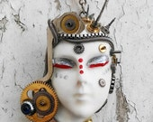 Steampunk Queen Painted Lady Face Clock Parts Gears Spring Gold & Silver Tone Jewelry Necklace