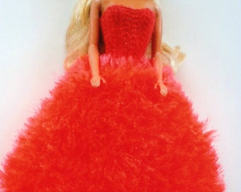 Barbie strapless gown in bright tangerine