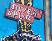 Silver Spur - Painting, Original Oil,  Old Sign, Vintage, Texas, West, Cowboy, Cowboy Boot, Cowgirl, Western, Mountain