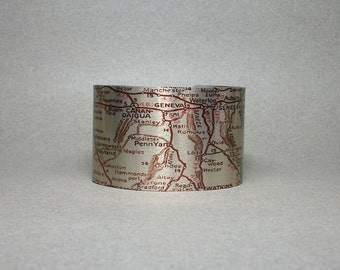 Cuff Bracelet Finger Lakes Region Upstate New York Map Keuka Cortland Geneseo Seneca Unique Gift
