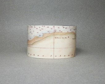 Tybee Island Georgia Cuff Bracelet Vintage Map Wide Unique Gift for Men or Women