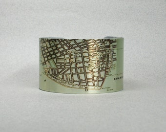 Charleston South Carolina Cuff Bracelet City Map Gift for Men or Women