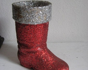 Vintage 1950's Paper Mache German Glitter Christmas Candy Holder Boot