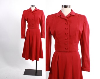 Vintage 40s SUIT / 1940s Rosy Red Tailored Wool Gabardine Blazer Jacket & Gored Skirt SET XS - S