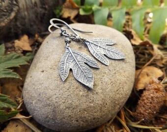 Sassafras albidum -Ghost Leaf- Oxidized Fine Silver Botanical Leaf Earrings  by Quintessential Arts