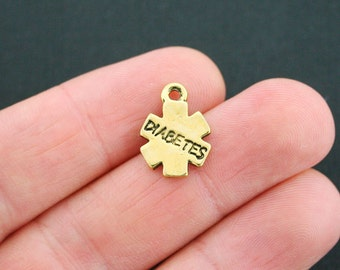 10 Diabetes Medical Charms Antique Gold Tone 2 Sided - GC528