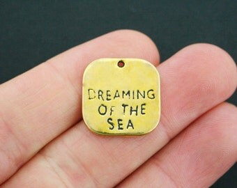 6 Dreaming of the Sea Charms Antique Gold Tone - GC523