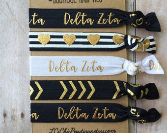 Boutique Elastic Hair Ties Delta Zeta Black Gold 5 pack - awesome gift
