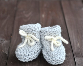 Baby Girl Boy Hand Knitted Alpaca Merino wool Boots, Lace up Stay On Booties / Socks – natural, neutral light grey, white 6-9 months, gift