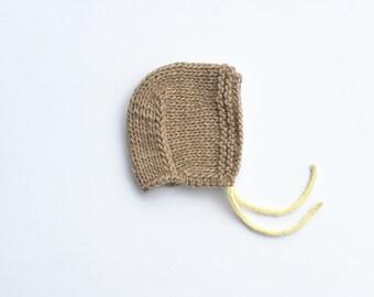 Newborn Baby Boy Girl Hand Knitted natural neutral Beige Alpaca Merino wool Bonnet Winter Hat White drawstrings, 0-3-6-9-12-18-24 months