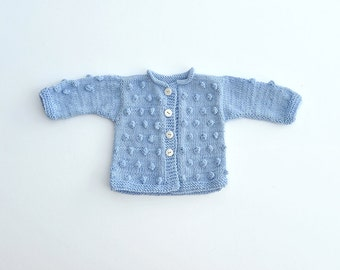 Baby Boy Girl hand Knitted pastel light blue wool warm Fall Winter Sweater Cardigan popcorn bobbles baby sower gift 0-3-6-9-12-18-24 months