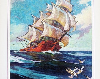 Flying Sails 1971 My Book House Volume 8 Eight - Olive Beaupre Miller - Classic Literature - Bold Action Adventure Tales For Boys And Girls