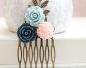 Navy Blue Rose Comb Floral Hair Comb Flowers for Hair Accessories Bridesmaid Gift Light Peach Beach Wedding Antique Blue Hair Piece