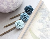 Blue Flower Bobby Pins Navy Blue Rose Hair Accessories Ombre Floral Hair Pins Hippie Chic Boho Gift for Her Under 20 Something Blue Wedding