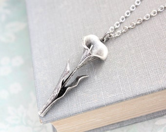 Calla Lily Necklace Silver Flower Pendant Easter Jewelry Spring Fashion Long necklace Layering necklace Bridesmaids Gift Mothers Day