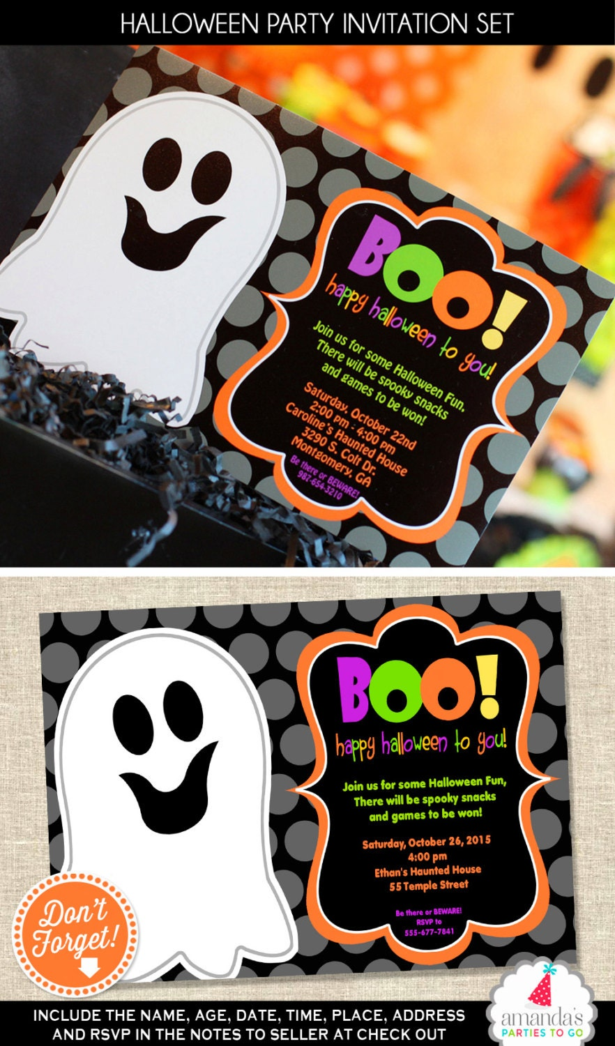 Halloween Invitation Halloween Party Invitation Ghost