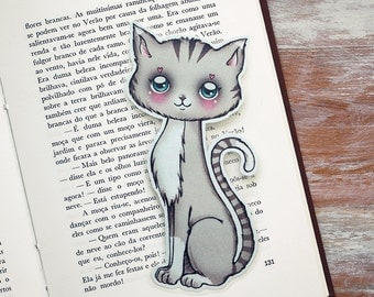 Cute Grey Kitty -  bookmark - made to order