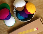 Kids Felt Cupcake - Your Color Choice - Party Decoration, Favors, Craft Fun, Play Kitchen, Fake Food, Gifts, Pin Cushion, Photo Prop, Decor