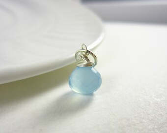 Sterling Silver Charms - Blue Chalcedony Gemstone Jewelry - Light Blue Gemstone Charms - Wire Wrapped Jewelry Handmade - JustDangles