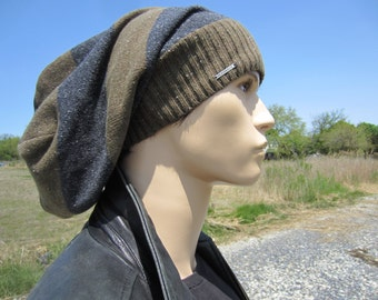 Extra Long Dreadlock Tam Hat Dread Tams for Men Slouchy Beanies Brown & Light Gray Striped Cotton Knit A1619