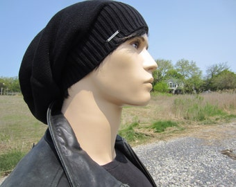 Plain Black Beanie Men's Warm Winter Hat Cotton Slouchy Tam Thick Knit Baggy Back Beanies A1707