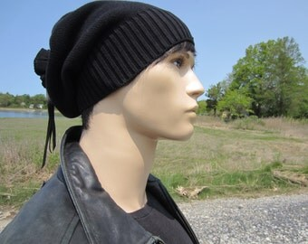 Solid Black Beanie Men's Warm Winter Hat Slouchy Tam Thick Knit Baggy Tie Back Beanies A1549 / A1707