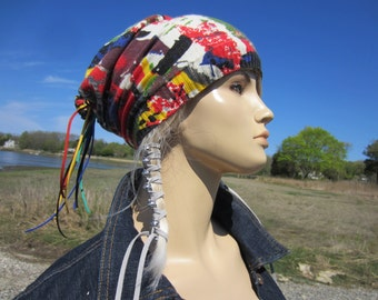 Lightweight Summer Hat Slouchy Beanie Ivory Cream Cotton Confetti Print Bohemian Clothing Womens Hats!  A1904