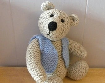 "Hand Knitted Teddy 14"" - CE Marked Toy - Knitted Bear for Children - Gilbert"