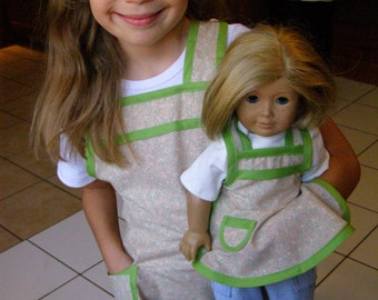 Dolly and Me Matching girl and doll Apron Set tan/green