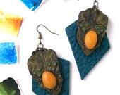 Polymer clay earrings - Wild oversize statement earrings modern geometric African art inspired colorful dangle earrings