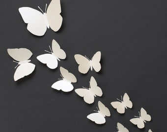 3D Wall Butterflies: 3D Butterfly Wall Art for Modern Home Decor in Pearl Metallic