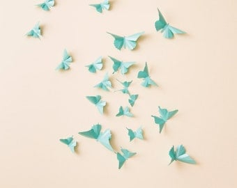 3D Butterfly Wall Decor: 3D wall butterflies, nursery decor, girls room, butterfly wall art in aqua metallic