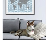 World Map Ikat Poster , Large Wall Art Map Tribal Dusty Blue Grey , Nursey Art Wall Decor Boy , Living Room Art , Office Art , more colors